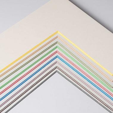 Fertig-Passepartout -  ColorCoreStripe 2,2 Wei? / Kern: Gr?n | 13x18 cm (9x13 cm)